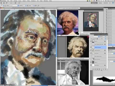4 Mark Twain Digital Caricature Painting Demo (Setting Up Refined Painting)