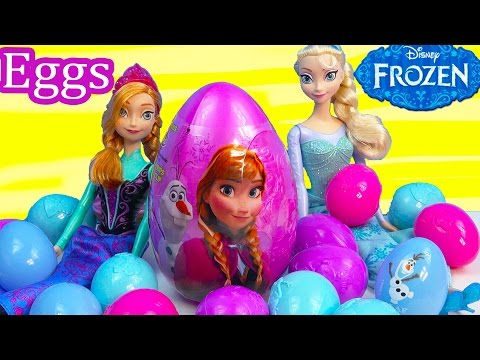 Queen Elsa Princess Anna Surprise Mystery Eggs Disney Frozen Olaf Snowman Easter Candy Unboxing video