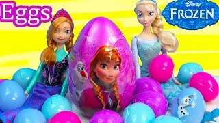 Queen Elsa Princess Anna Surprise Mystery Eggs Disney Frozen Olaf Snowman Easter Candy Unboxing