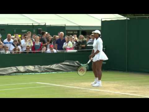 Serena Williams hits the practice court