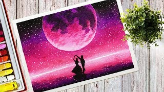 How to draw a Beautiful Purple Moonlight Scenery With Oil Pastel Step by Step