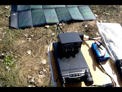 Portable qso, solar powered 72W. Ham radio, antenna MP-1.