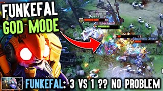 When Funkefal Goes Rage And God Mode At Same Time - Crazy 3vs1 Aggressive God Tinker Dota 2
