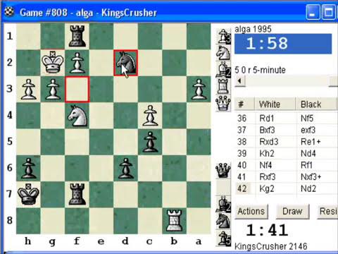 Chess World.net:  Blitz #45 vs. alga (1995) - Dutch: Leningrad, main variation with Nc6 (A89)