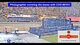 CENTRAL OF GEORGIA #8101 PHOTOGRAPHER COVERING THE BASES AT HORSESHOE CURVE, PA
