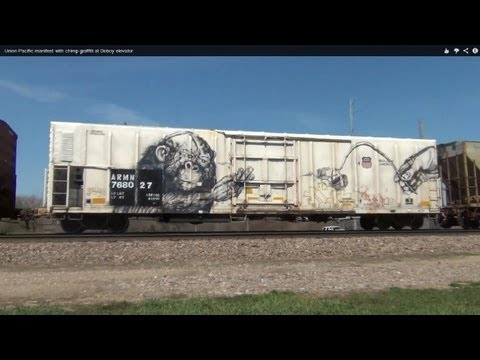 Union Pacific manifest with chimp graffiti at Doboy elevator