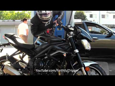 Hollywood Celebrity Paparazzi Style Justin Bieber Look A Like Riding 2013 Triumph Street Triple R