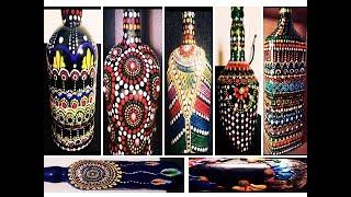 8 Amazing bottle painting tutorials \ wine bottle decorating ideas \ bottle art
