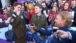 Captain America Cosplayer Proposes at Marvel Movie Premiere