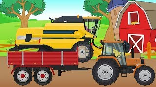 Harvest - Farm work | tractor, combine-harvester, seeder | Video for kids and Bayby | Traktor Żniwa