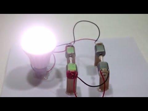 100% Free Enargy Light Bulds 230v using 4 DC Motor thumbnail