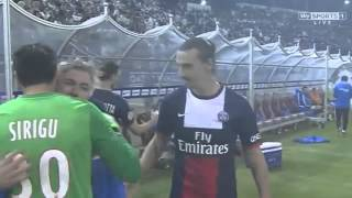 Zlatan Ibrahimovic playing with Carlo Ancelottis hair | PSG vs Real Madrid 02/01/2014