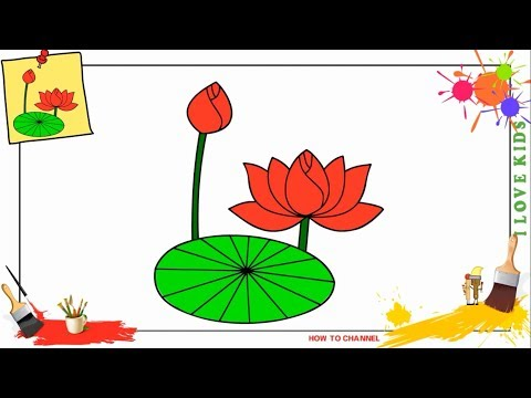 How to draw a lotus flower EASY step by step for kids, beginners, children (update)
