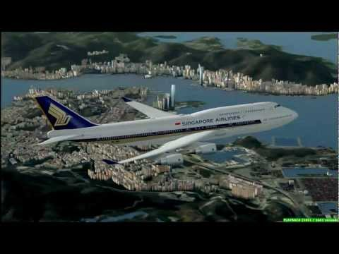FSX Singapore Airlines Boeing 747-400 Hong Kong Chek Lap Kok Airport To Singapore Changi Airport