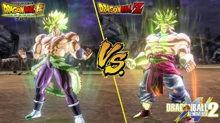 DBZ Broly vs DBS Broly | Side by Side comparison! - Dragon Ball Xenoverse 2