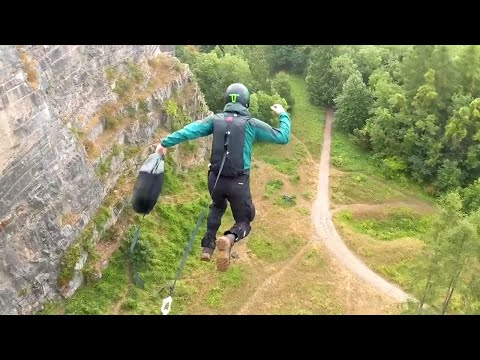 BASE jumping Llanymynech Rocks