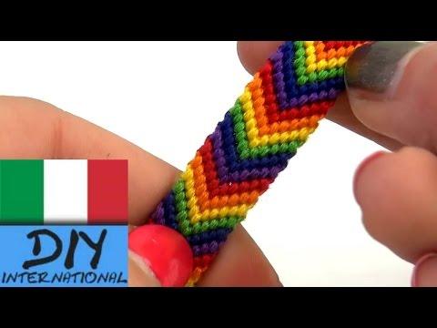 braccialetto dell´amicizia con colori arcobaleno braccialetto con fili di cotone a forma di freccia