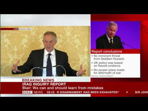 Tony Blair after responding  to the Iraq Chilcot Inquiry Questions from the Media