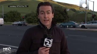 Reporter nearly hit by car live on TV, California