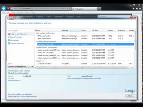 Enabling Flash Player on Internet Explorer 9