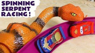Cars Pixar Hot Wheels Race Off Spinning Serpent with DC Comics & Marvel Avengers 4 Superheroes