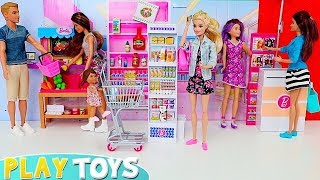 Barbie Doll Baby Plays Hide and Seek in the Grocery Shop!