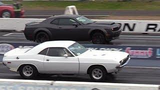 Dodge Demon vs Old School Muscle Cars - drag racing