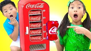 Wendy Pretend Playing with Coke Vending Machine Soda Toys for Kids