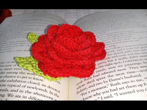 Crochet Glama's Sweet Rose Book Mark Tutorial