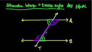 Alternate interior and exterior angles - proof
