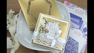 6x6 Collection - Nesting Hexagons - Gold & White Shaker Card