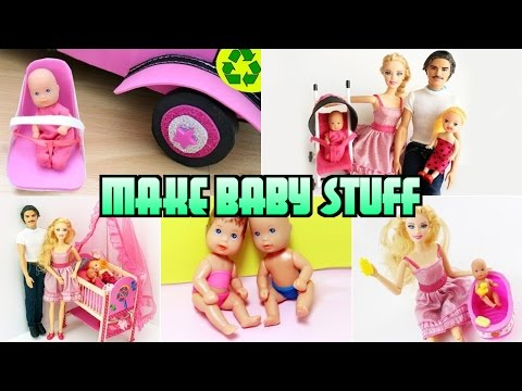Compilation 5 Barbie Baby Crafts [Diaper.Bathtub.Crib.Car Seat. Stroller]