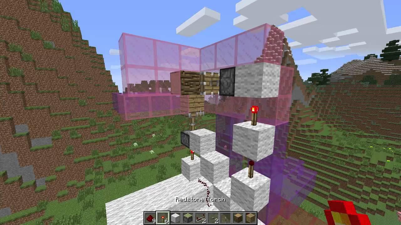 1.7 minecraft Потайная дверь в подвал. Два поршня и логика на запоминание нажатия кнопки. - YouTube