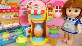 Baby doll Ice Cream shop and fruit juice surprise play