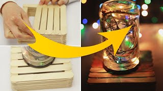 DIY Night Lamp Crafting idea from Popsicle Sticks 3