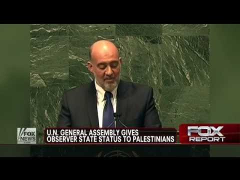 Israel : United Nations votes in favor of nonmember observer state for Palestinians (Nov 29, 2012)
