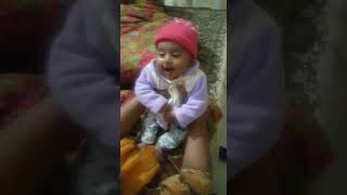 funny and cute baby girl laughing (2 months old)