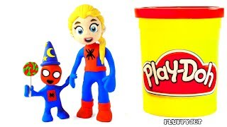 Spiderman Baby & Giant Candy Kinder Surprise Eggs Play Doh Stop Motion kids song video