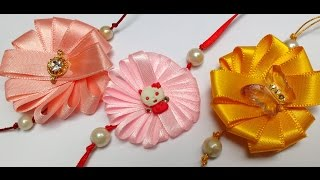 Diy How to make Easy Ribbon Flower Rakhi in 5 Minutes