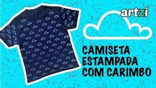 Artesanato - Estampando camiseta com carimbo de borracha