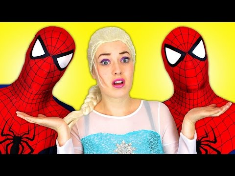 Spiderman vs Spiderman with Frozen Elsa and Superman! Fun Superhero Movie in Real Life :) thumbnail