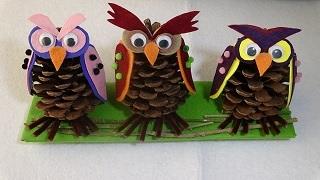 Kozalaktan Baykuş Yapımı - DIY Pine Cone Owl - Çok kolay ve sevimli