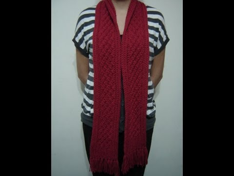 Bufanda enrrejada roja en Telar