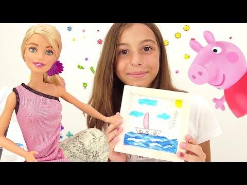 Видео для девочек - кукла Барби и Свинка Пеппа рисуют