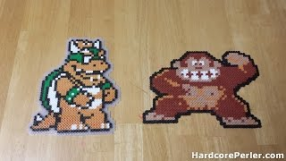 Perler Beads how-to masking tape method with Donkey Kong and Bowser.