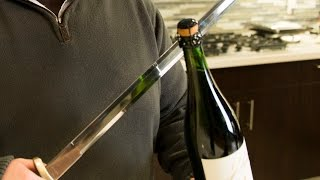 How to open a bottle of champagne with a sword