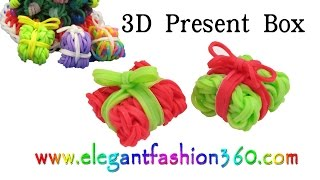 Rainbow Loom Present Box 3D Charms - How to Loom Bands Tutorial