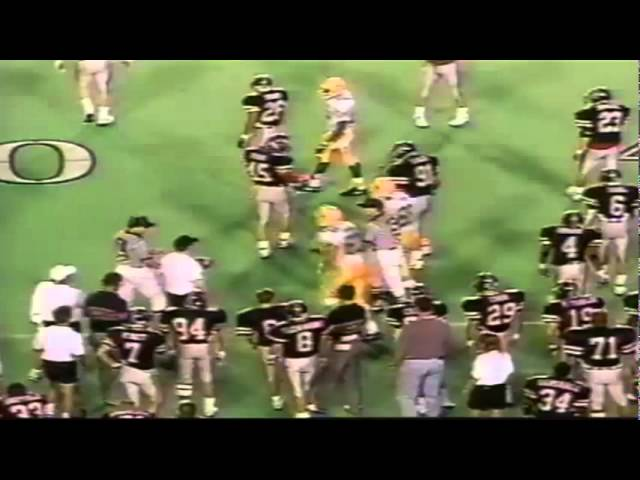 Oregon TE Jeff Thomason 17 yard reception vs. Texas Tech 9-14-1991