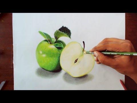 Drawing Green apples - Prismacolor pencils