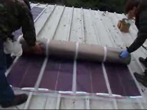 installing flexible solar panels on metal roof - YouTube